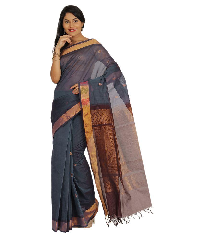 Pratamika Grey Cotton Blend Saree