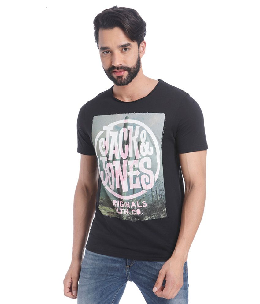 Jack & Jones Black Round Neck T Shirt