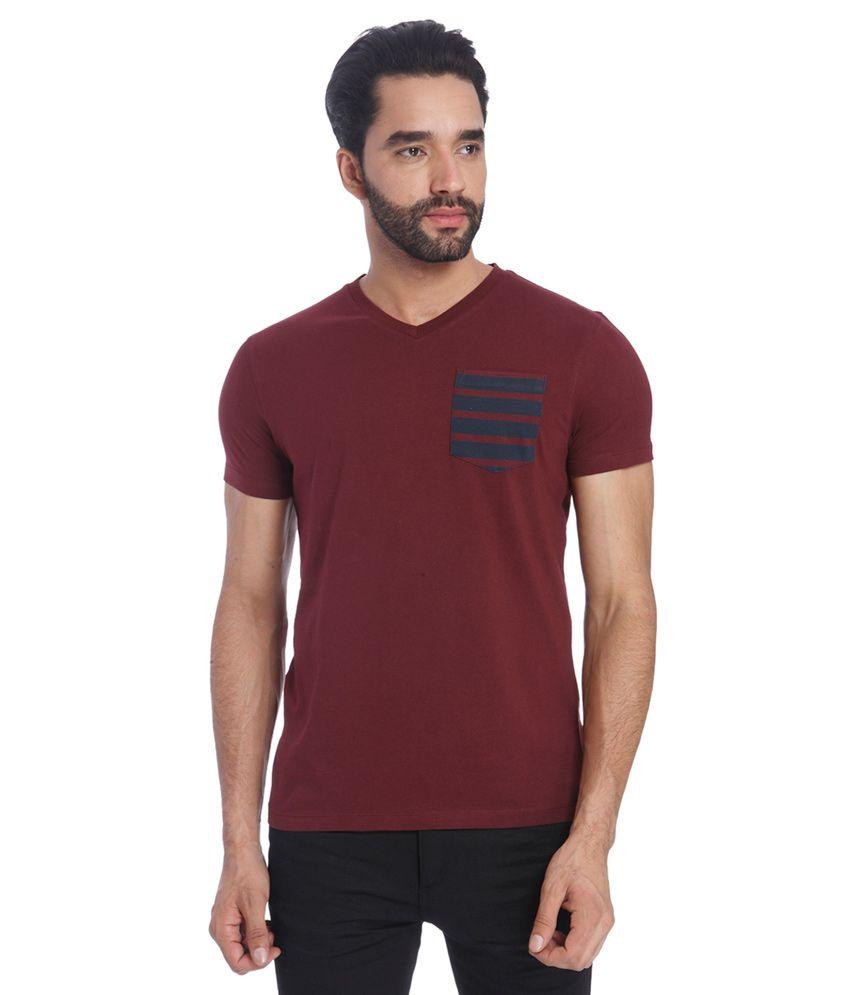 Jack & Jones Maroon V-Neck T Shirt