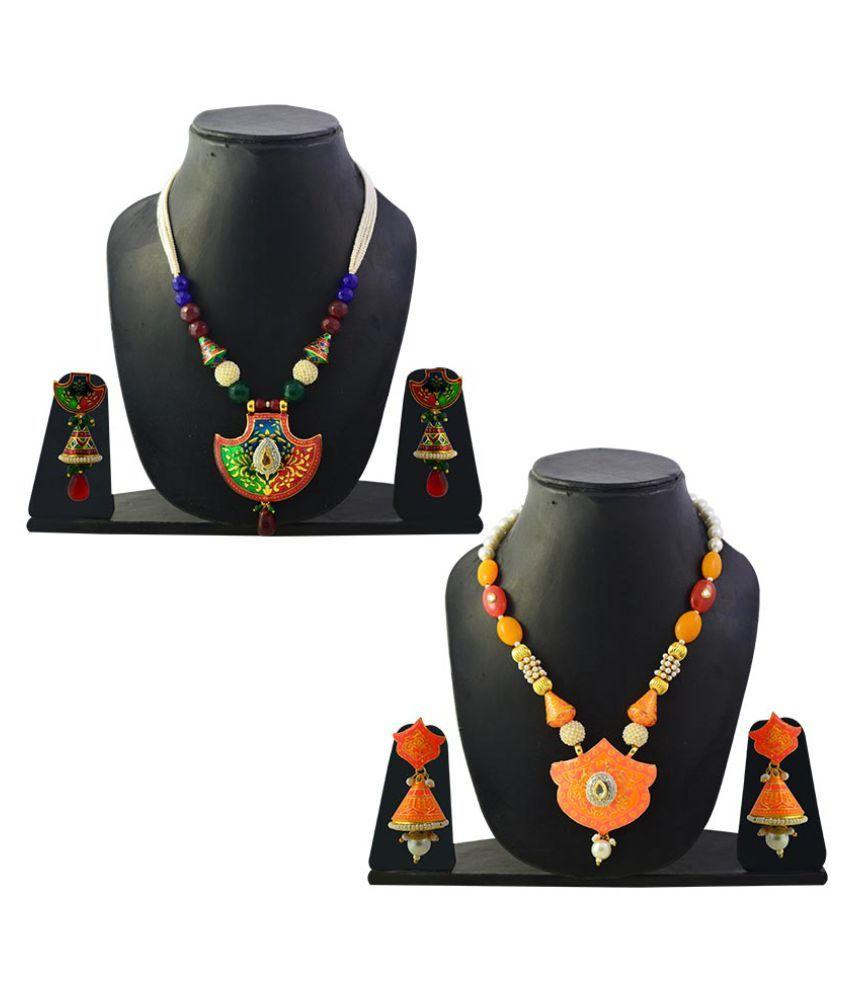 MK Jewellers Multicolour Necklace Set