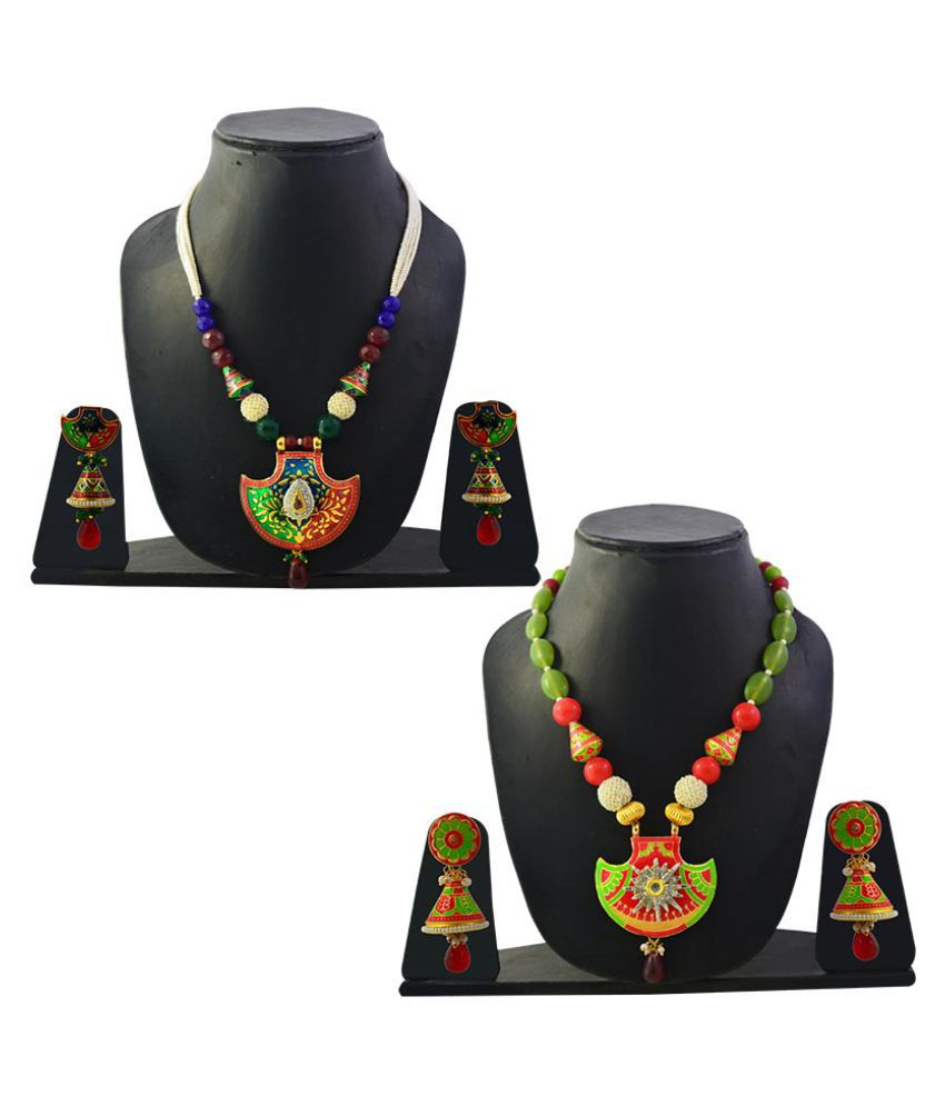 Mk Jewellers Multicolor Necklace Set - Combo of 2