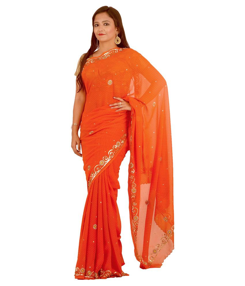 Vogue4all Orange Georgette Saree