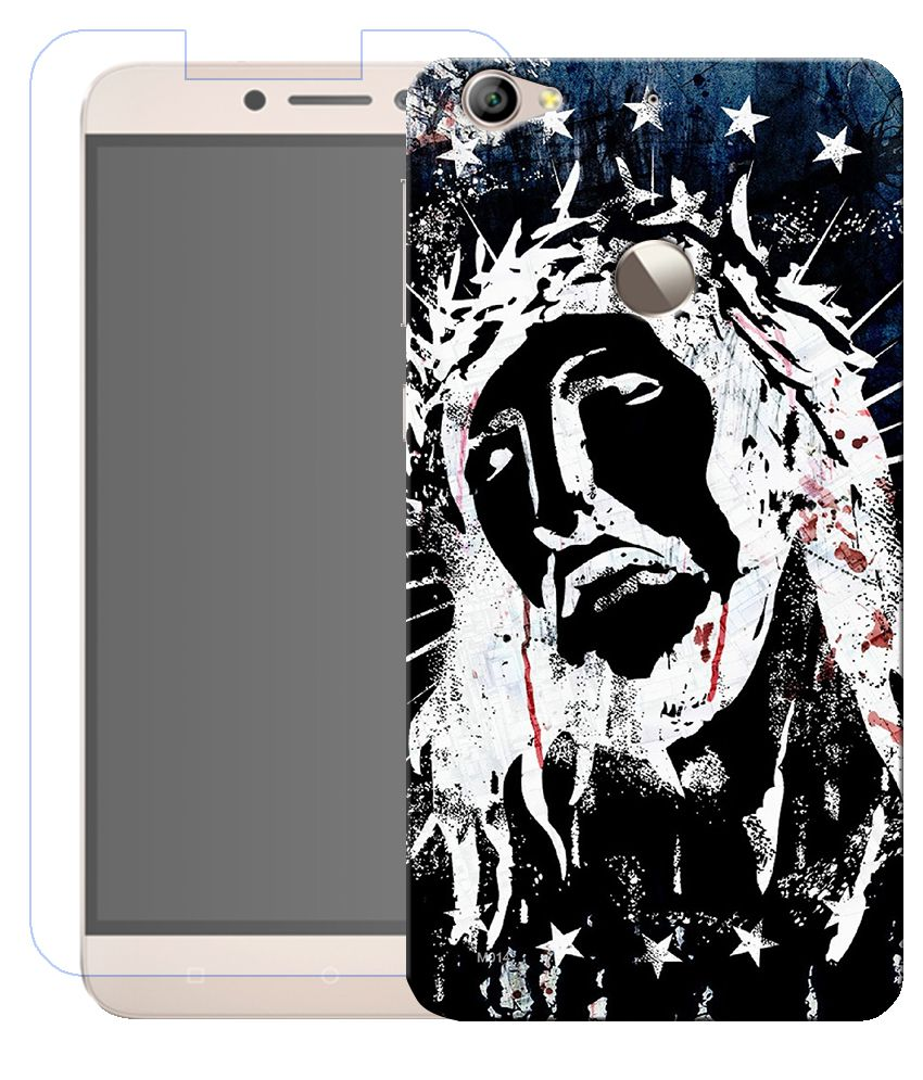Anwesha's Combo of Jesus HD UV Printed Mobile Back Cover and Tempered Glass For LeEco Letv Le 1s