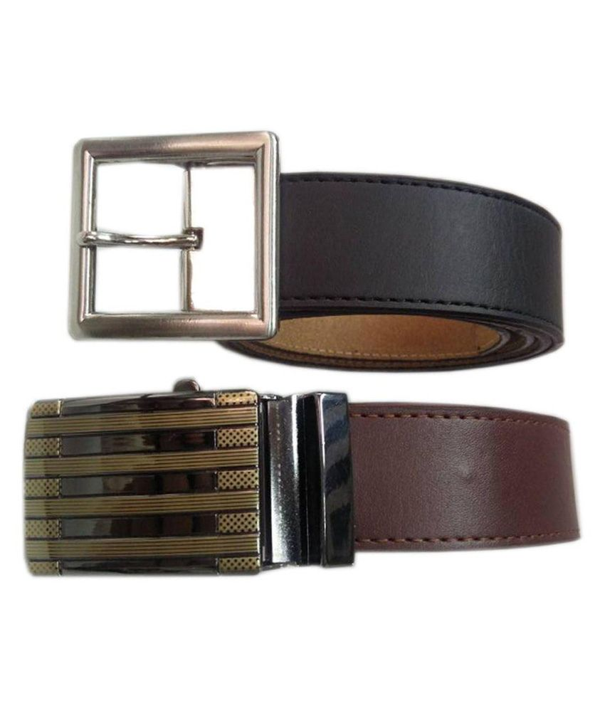 Revo Multicolor Pure Leather Casual Belts - Pack of 2