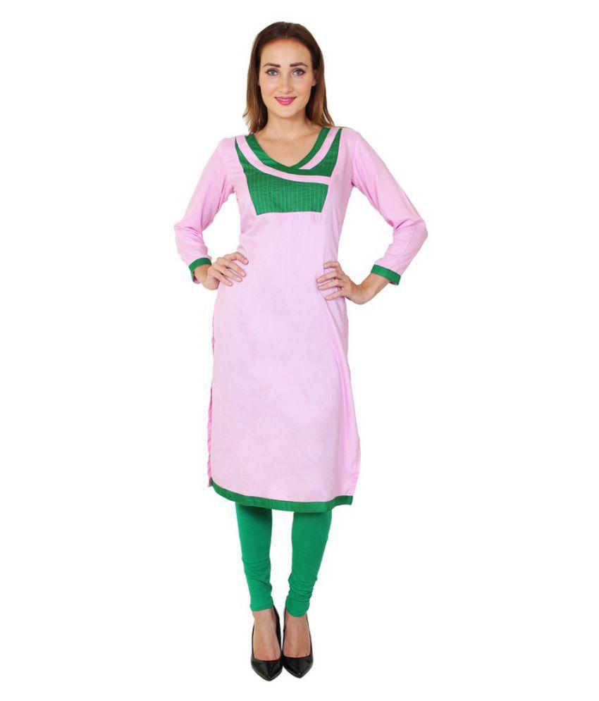 Sritika Baby Pink Rayon Straight Patch work Kurti