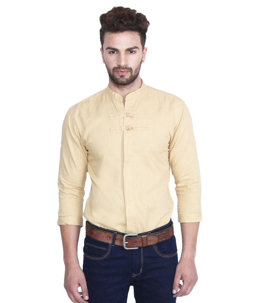 Nineteen97 Beige Casuals Slim Fit Shirt