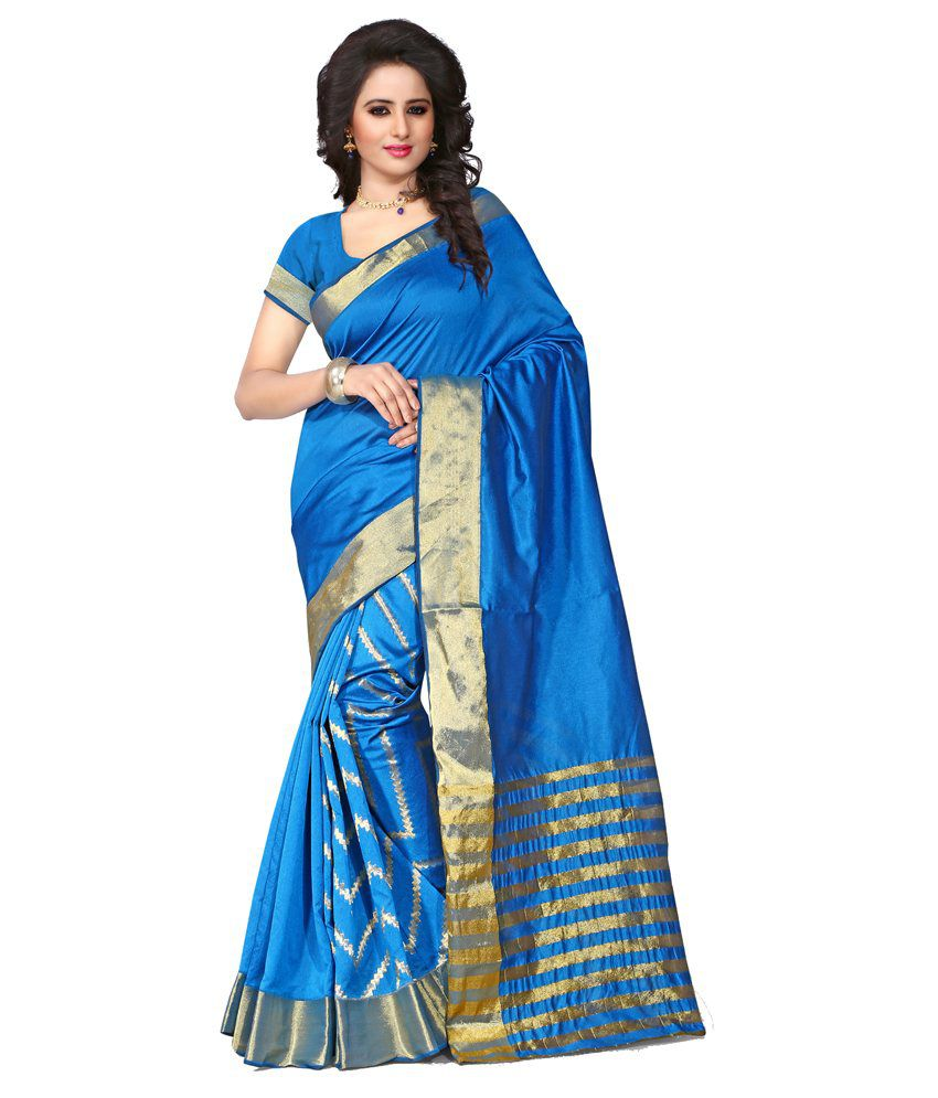 Bee Positive Blue Cotton Silk Saree