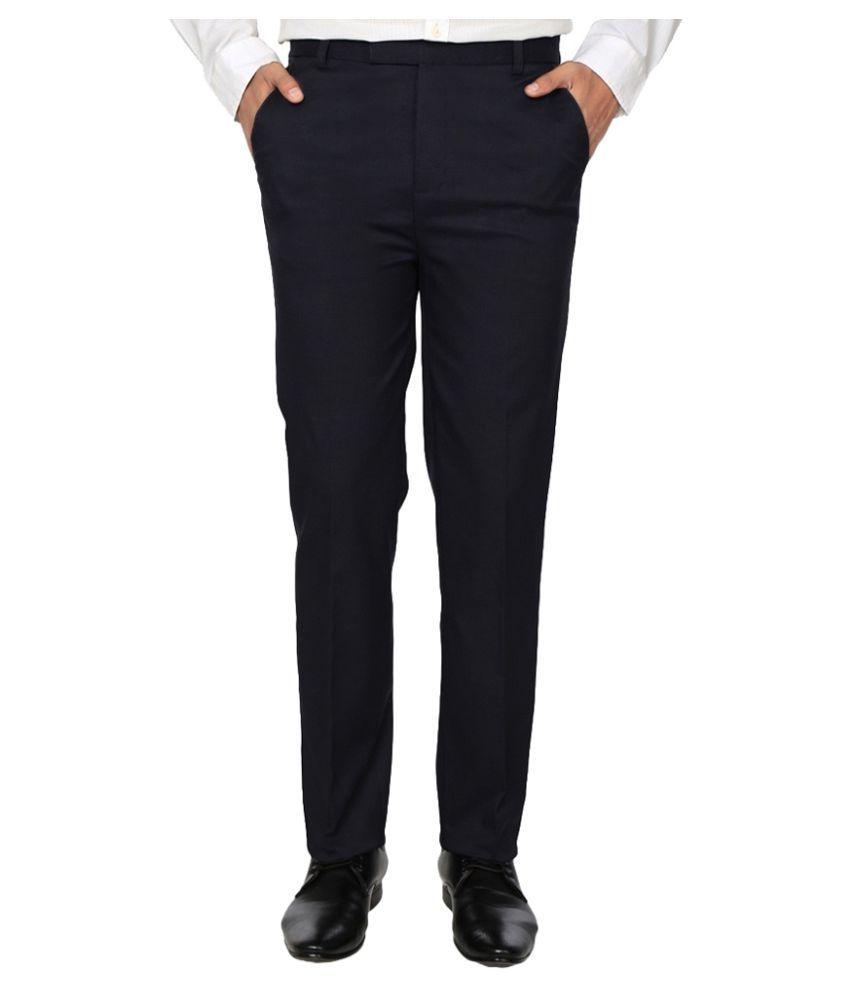 Frankline Black Regular Flat Trouser