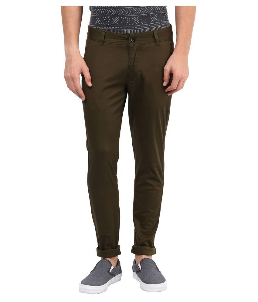 Silver Streak Olive Green Slim Flat Trouser