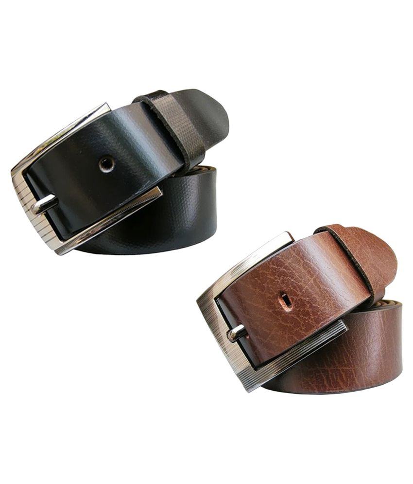 Winsome Deal Multi Leather Formal Belts - Pack of 2
