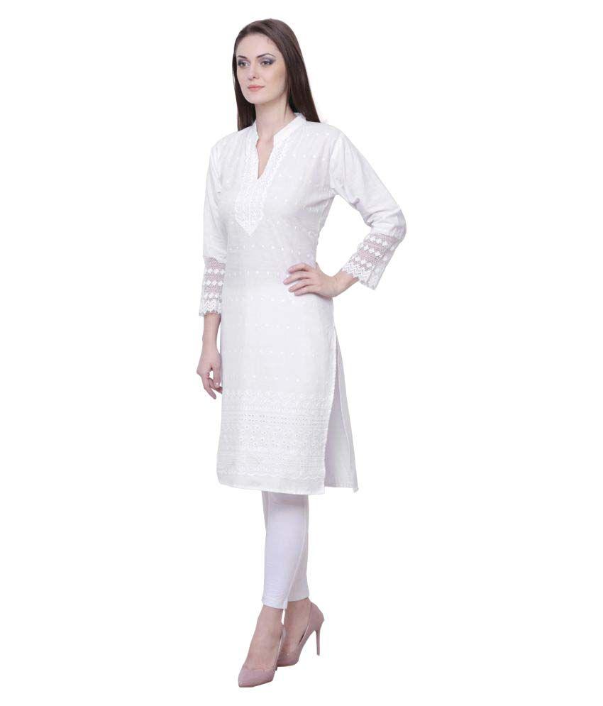 173d232c322 Haniya White Cotton Straight Lucknavi Chikankari Kurti Haniya White Cotton  Straight Lucknavi Chikankari Kurti ...