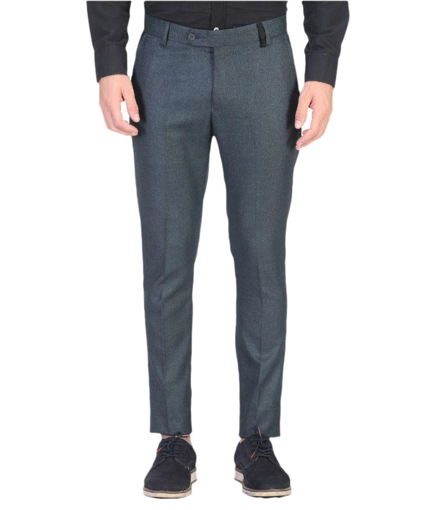 Vandnam Fabrics Blue Slim Pleated Trouser