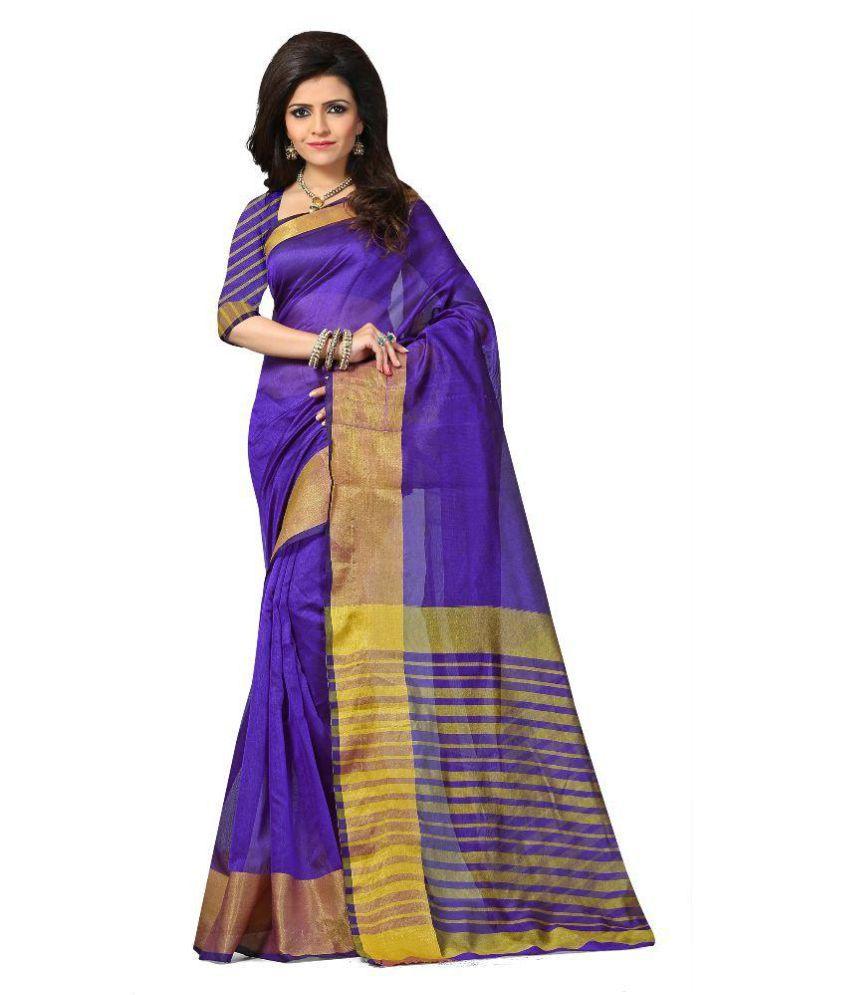 Abhay Kala Fashion Blue Cotton Saree