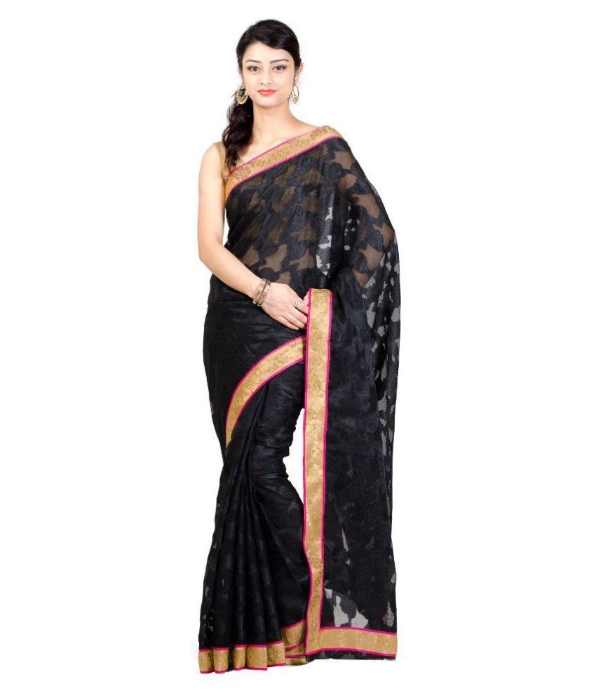 Kamila Creation Black Tussar Silk Saree