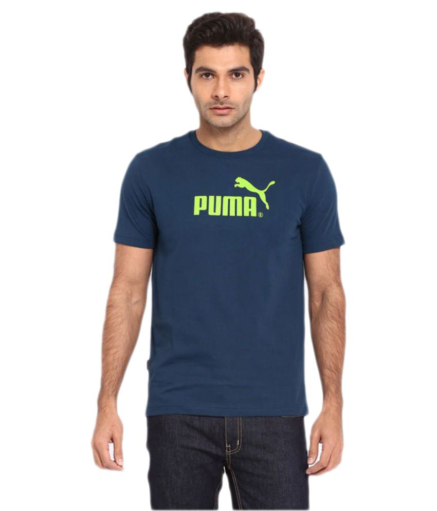 Puma Blue Cotton T-Shirts