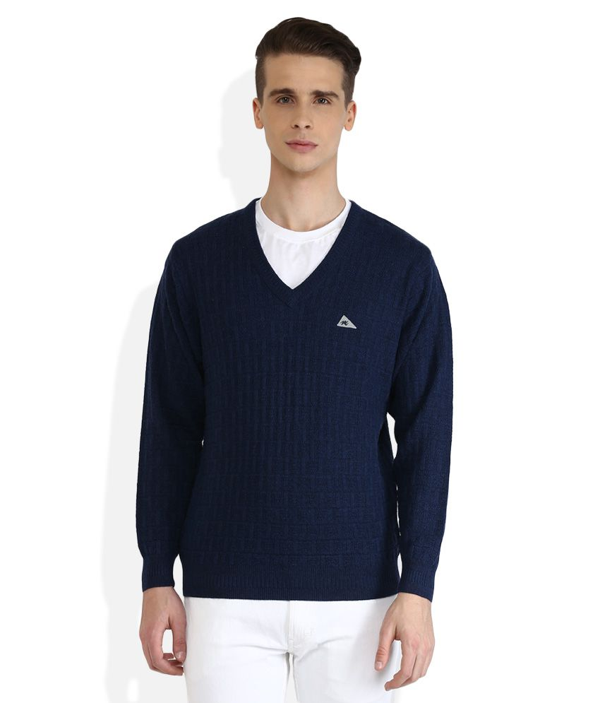 Monte Carlo Navy V-Neck Full Sleeves Sweaters