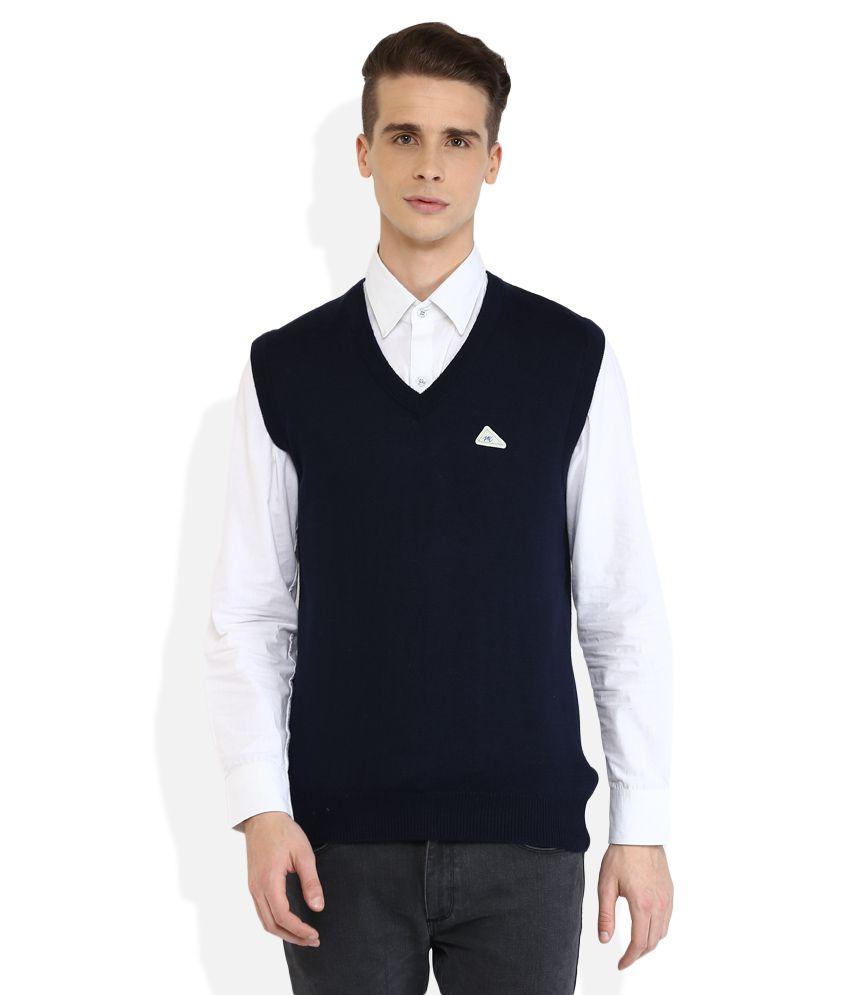 Monte Carlo Navy V-Neck Sleeveless Sweaters