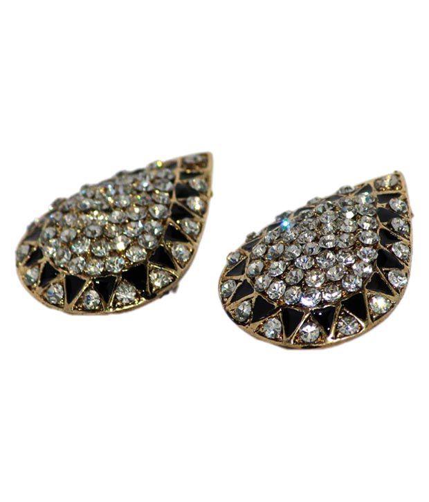 Anaika India Black Stone Studded Stud Earrings