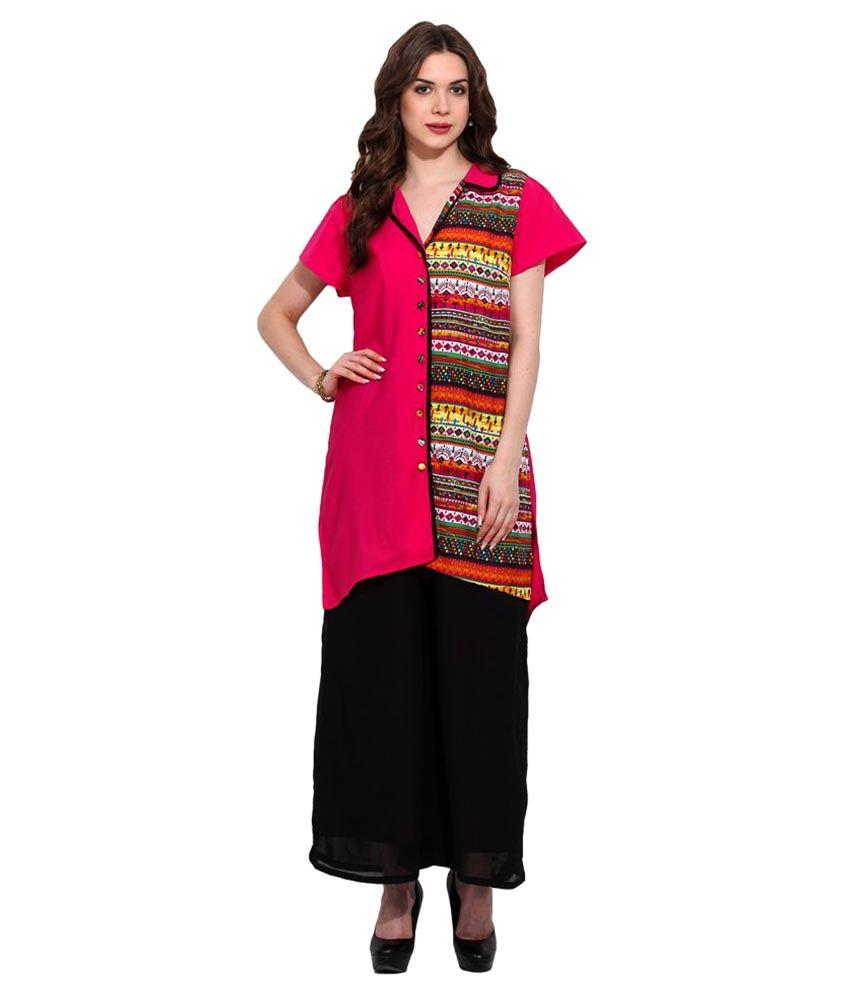 Fashion Eva Multicoloured Crepe Straight Abstract Kurti