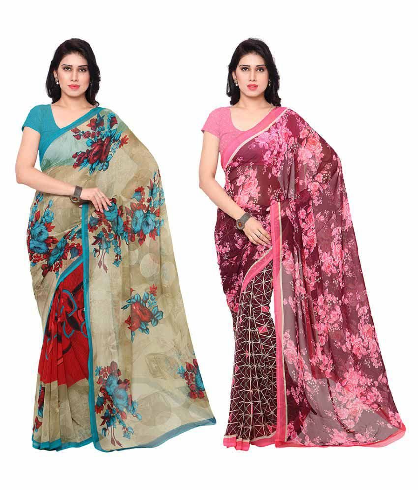 Alethia Enterprise Multicoloured Georgette Saree Combos