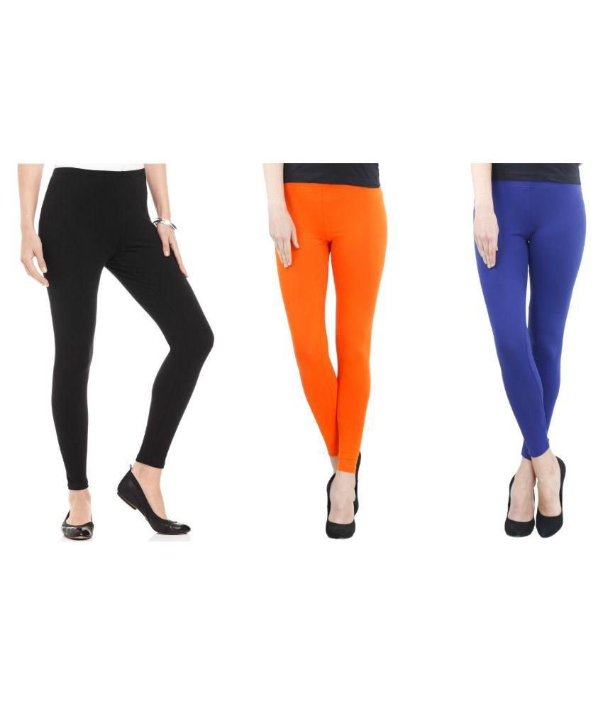 FashGlam Cotton Ankle Length Leggings   Combo   Black,Orange,Royal Blue