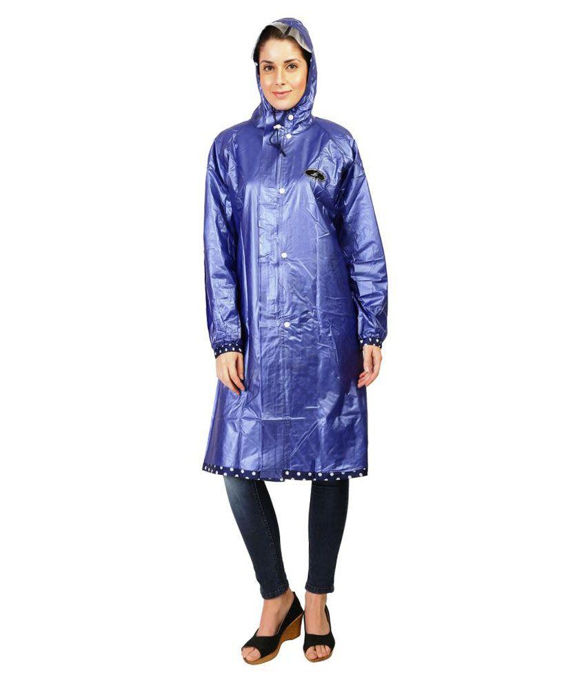 Zeel Blue Polyester Long Raincoat