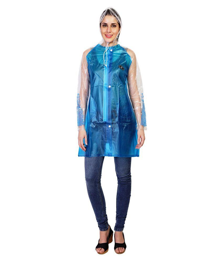 Zeel Blue Polyester Short Rainwear