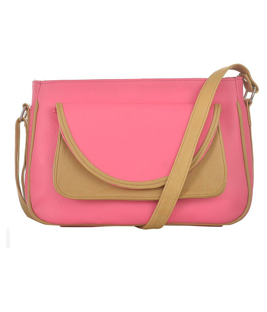 Fostelo Pink Faux Leather Sling Bag
