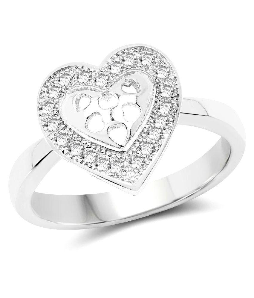 Johareez 92.5 Silver Cubic zirconia Ring