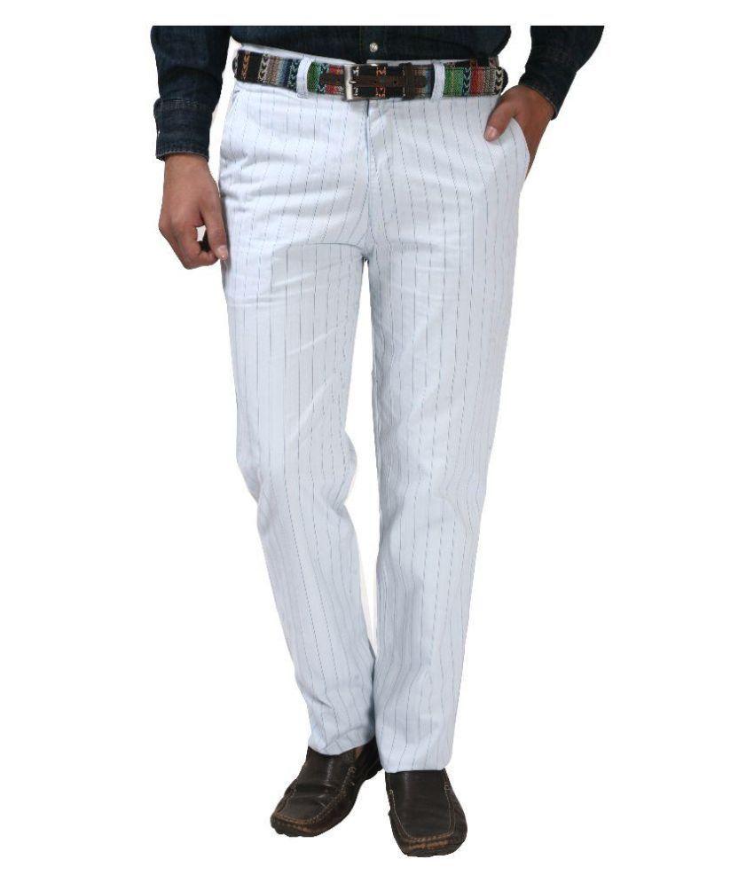 Koutons Outlaw White Regular Flat Trouser