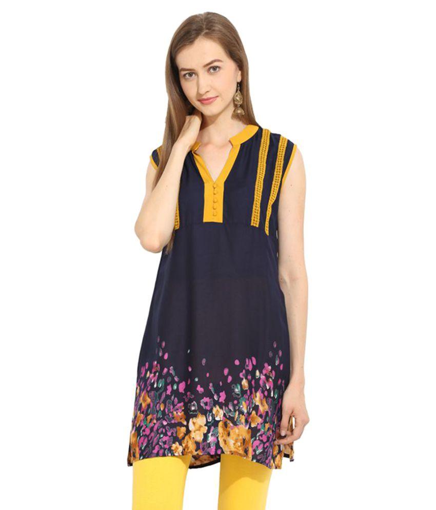 Fashion Eva Navy Rayon Straight Nowari Kurti