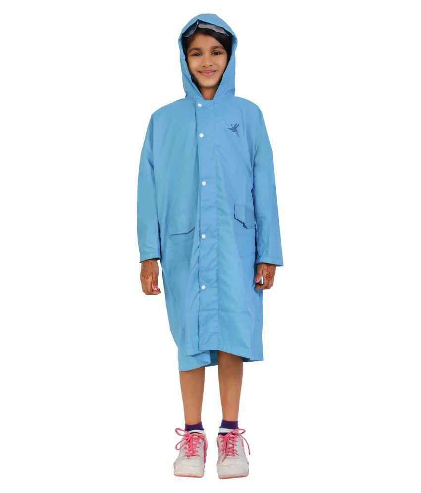 Zeel Sky Blue Polyester Coats