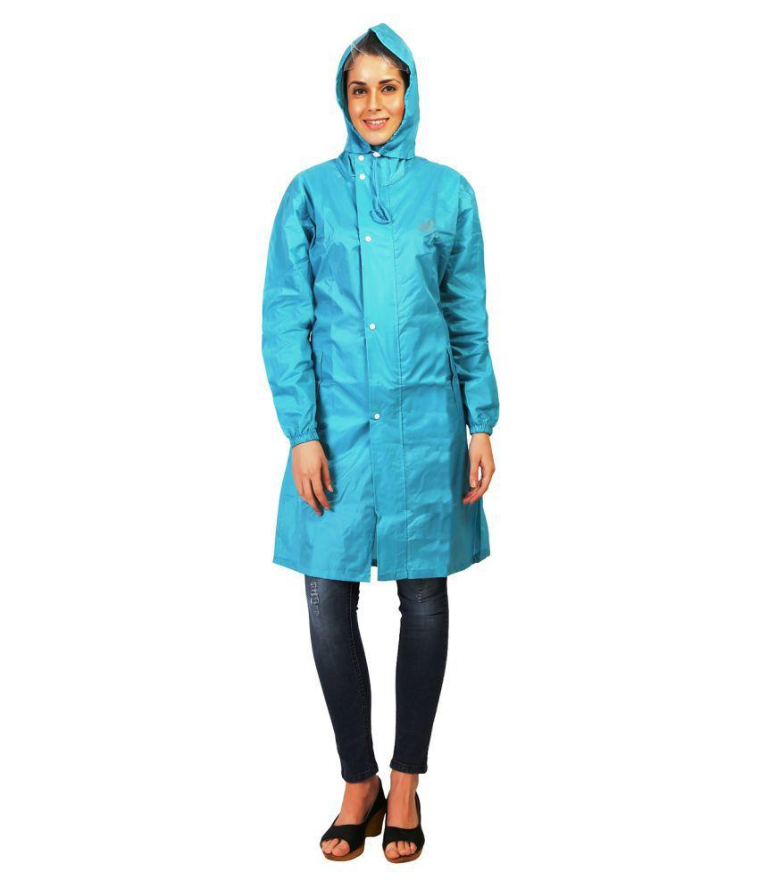 Zeel Turquoise Polyester Long Raincoat