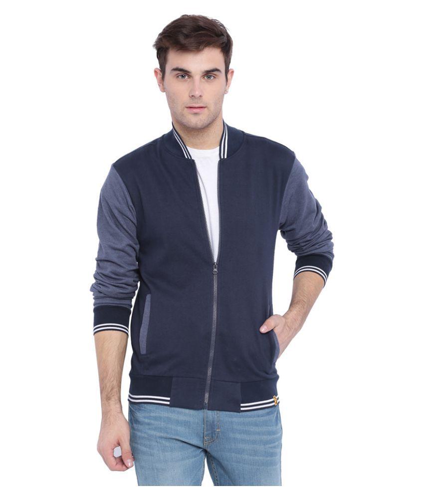 Campus Sutra Navy Cotton Casual Jacket