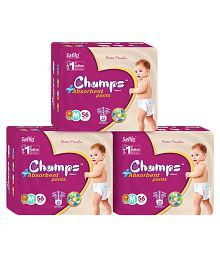 Champs High Absorbent Pant Style Diaper Medium(56 Pieces) - Pack of 3