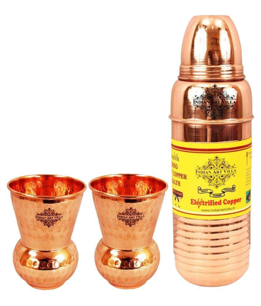 Indianartvilla Copper Lining Thermos Design Bottle with 2