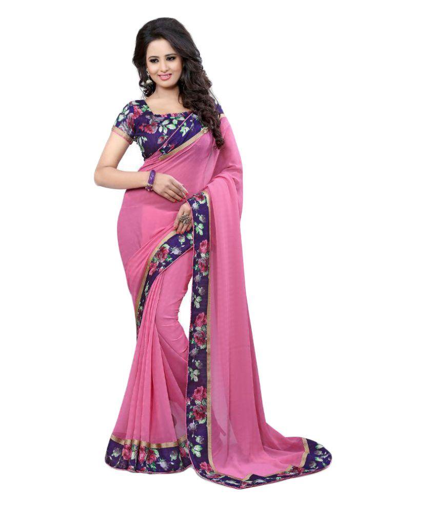 Arya Fashion Pink Georgette Saree