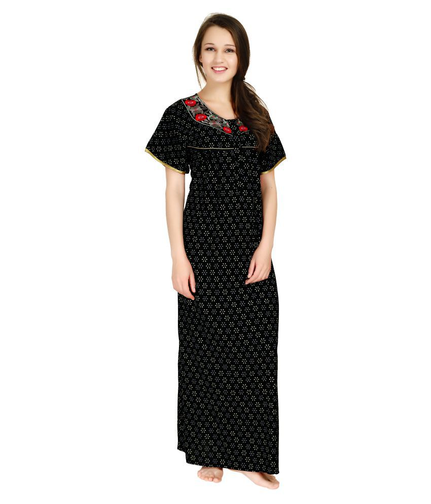 ce01f75bcd Buy AV2 Black Cotton Nighty   Night Gowns Online at Best Prices in India -  Snapdeal