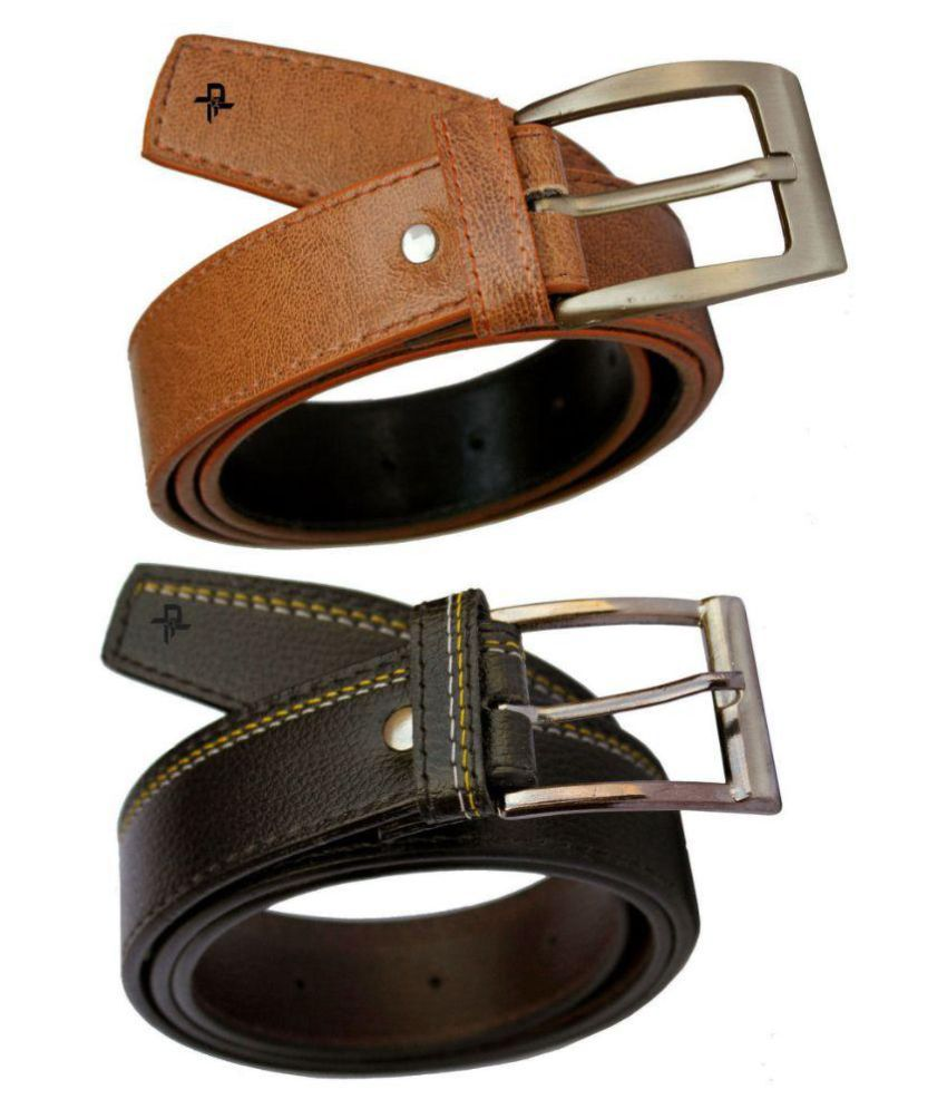 Discover Fashion Multi PU Formal Belts for Men - Pack of 2