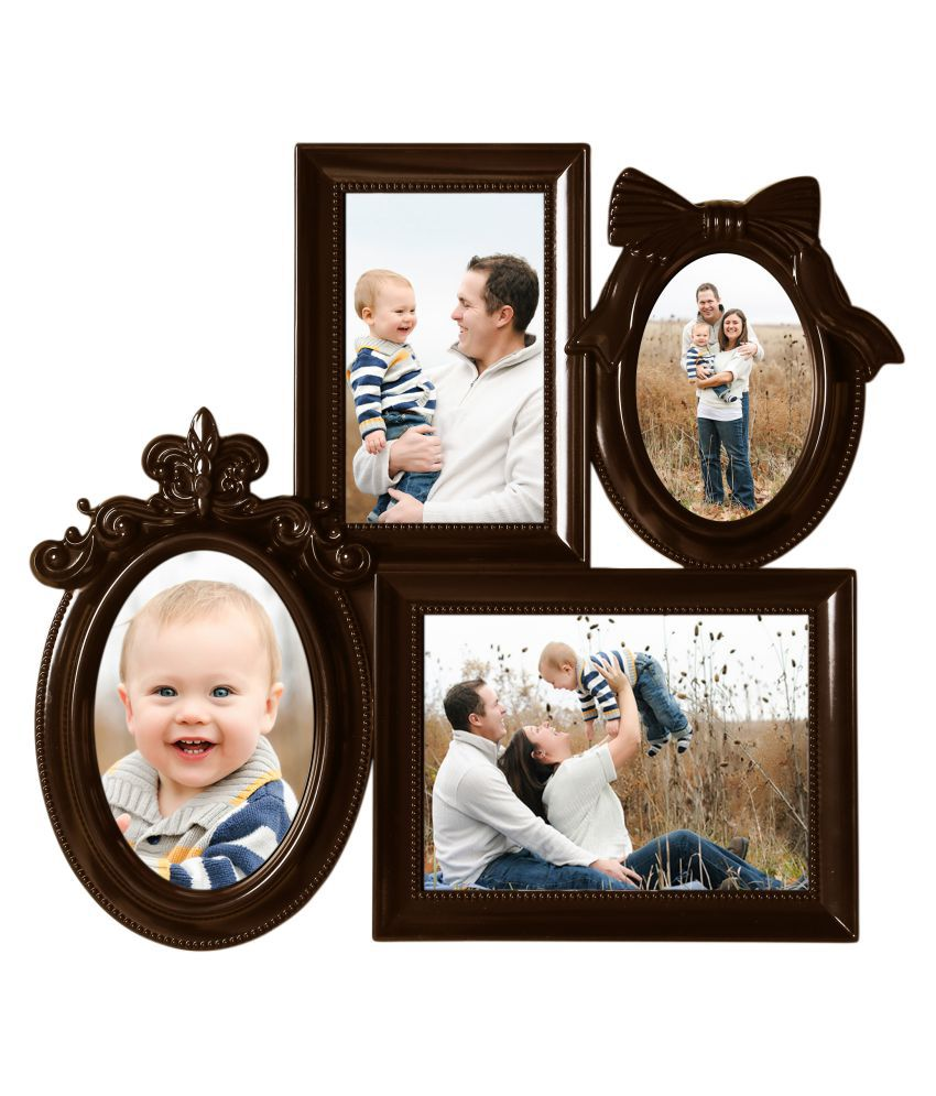 Arrix Plastic Table Top & Wall hanging Maroon Collage Photo Frame