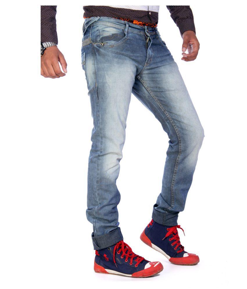Voizer Light Blue Slim Washed Jeans