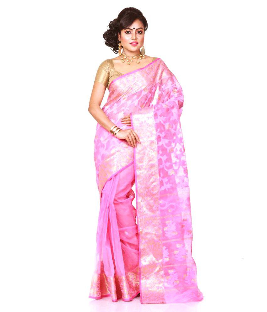 Bengal Handloom Saree Pink Cotton Silk Saree