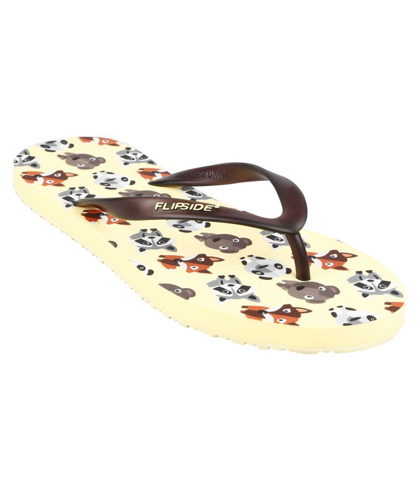 Flipside Womens Cute Wild Yellow Flipflops