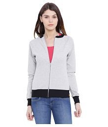Campus Sutra Gray Cotton Quiltted Jackets