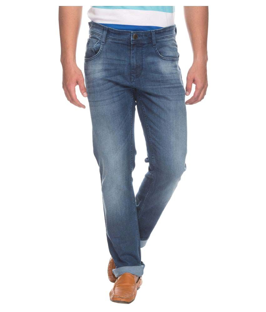 Parx Blue Slim Solid Jeans