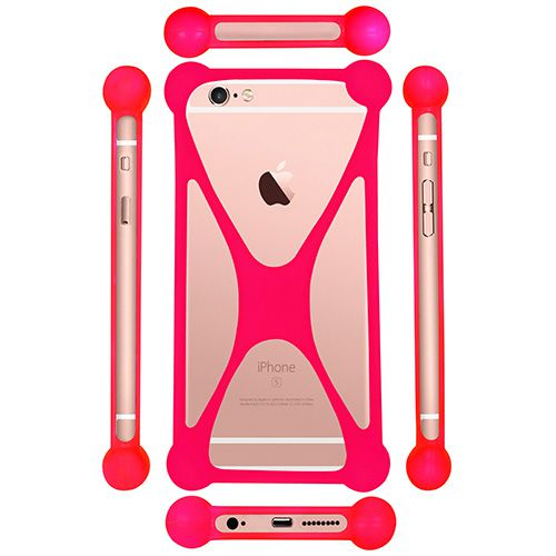 Casotec Universal Silicone Bumper Frame Soft Gel Phone Case Cover for Samsung Galaxy E5 - Pink