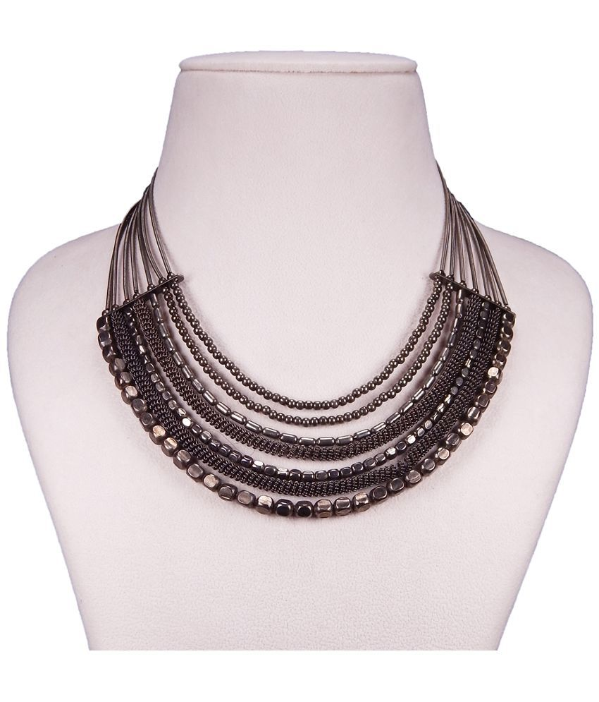 FreshVibes Multi Strand Traditional Black Necklace with Metal Beads for Women