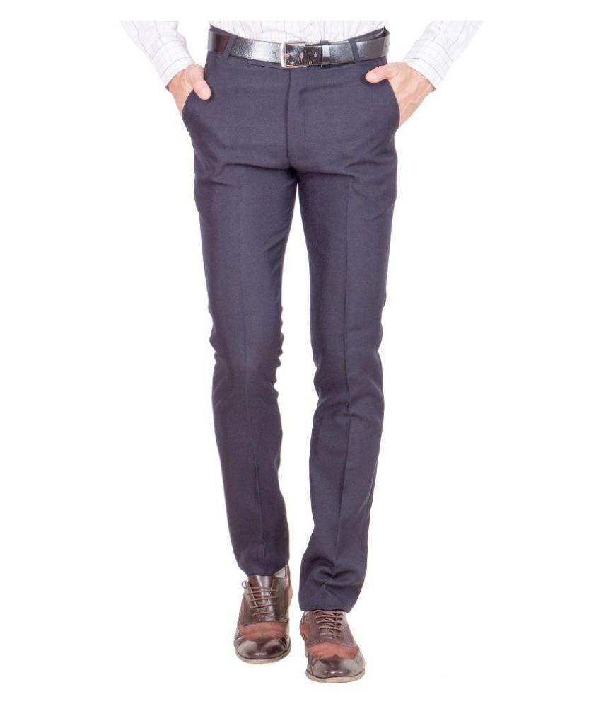 Shaurya-F Blue Regular Flat Trouser