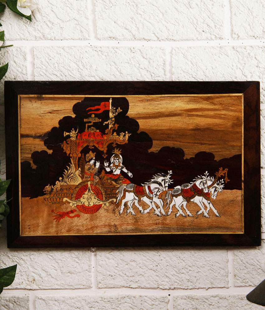 Unravel India Multi Wooden Abstract Painting