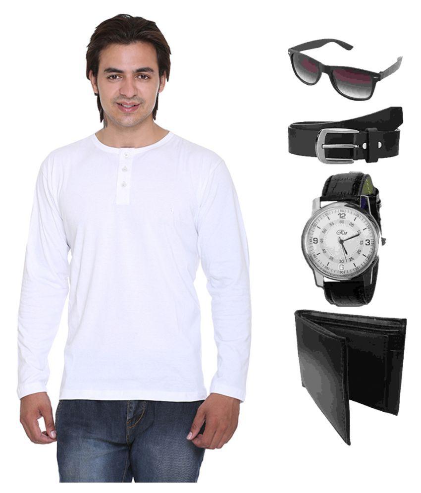 Van Galis White Henley T-Shirt
